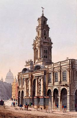 Junction Drawing - The Royal Exchange, 1816 by Rudolph Ackerman