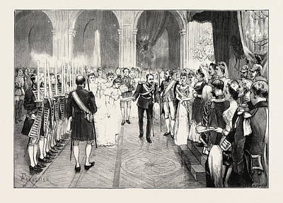 Berlin Drawing - The Royal Marriage At Berlin, Germany Torch-dance by German School