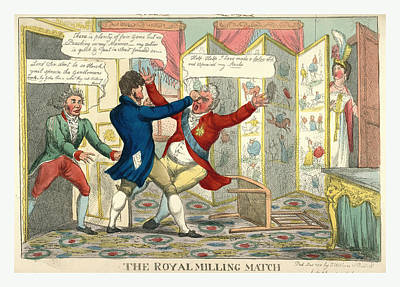 Caricature Drawing - The Royal Milling Match, Caricature Showing Lord Yarmouth by Litz Collection