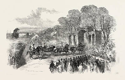 Garden Entrance Drawing - The Royal Procession At The Entrance To Peel Park by English School