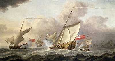 Water Vessels Painting - The Royal Yacht Mary Exchanging Salutes, 18th Century by Cornelis van de Velde