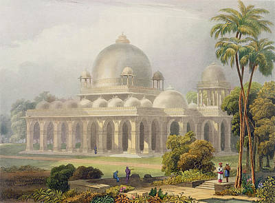 Temple Drawing - The Roza At Mehmoodabad In Guzerat, Or by Captain Robert M. Grindlay