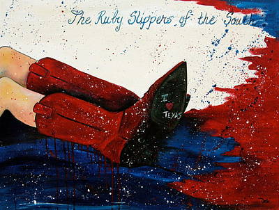 Contemporary Cowboy Painting - The Ruby Slippers Of The South by Debi Starr