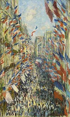 Old Street Painting - The Rue Montorgueil In Paris Celebration Of June 30 by Claude Monet