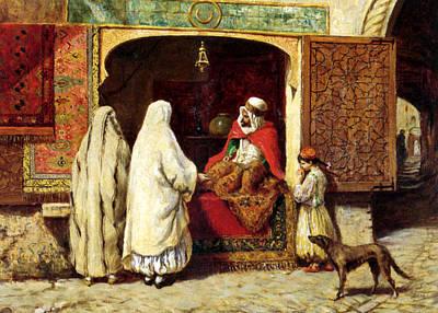 Orientalist Photograph - The Rug Merchant by Munir Alawi