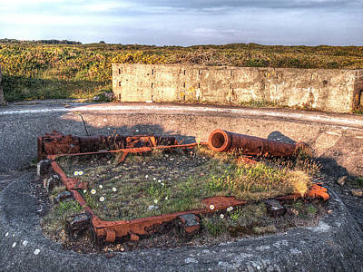 Photograph - The Ruins Of A Ww2 Cannon And Bunkers by Gill Billington