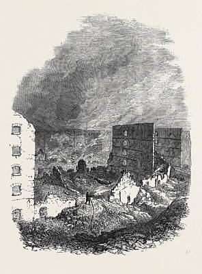 The Ruins Of Cottons Wharf The Great Fire In Southwark Art Print by English School