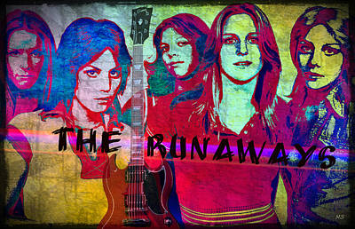 Rock N Roll Icons Digital Art - The Runaways - Up Close by Absinthe Art By Michelle LeAnn Scott