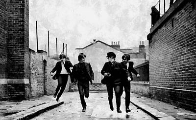Harrison Painting - The Running Beatles by Florian Rodarte