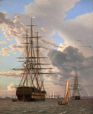 Grey Clouds Painting - The Russian Ship Of The Line Assow And A Frigate At Anchor In The Roads Of Elsinore by Christoffer Wilhelm Eckersberg