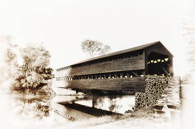 The Sachs Covered Bridge Near Gettysburg In Sepia Art Print by Bill Cannon