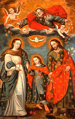 Religious Art Painting - The Sacred Family by Unknown