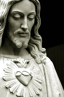 Religious Images Photograph - The Sacred Heart Of Jesus, 19th Century by South American School