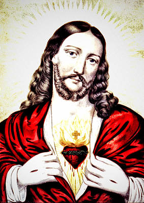 Lord Drawing - The Sacred Heart Of Jesus by Bill Cannon