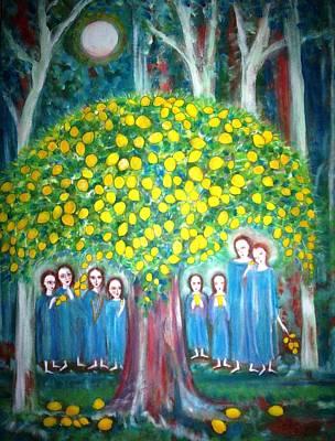 Fruit Tree Art Painting - The Sacred Lemon Tree by Catherine Walker