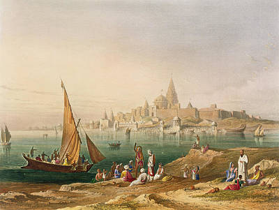 Coastal Landscape Drawing - The Sacred Town And Temples Of Dwarka by Captain Robert M. Grindlay