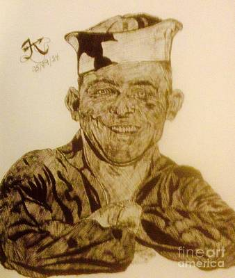 Indian Ink Mixed Media - The Sailor by Franky A HICKS