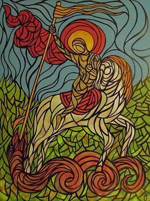 Abstract Painting - The Saint And The Serpent by Anthony Schwed