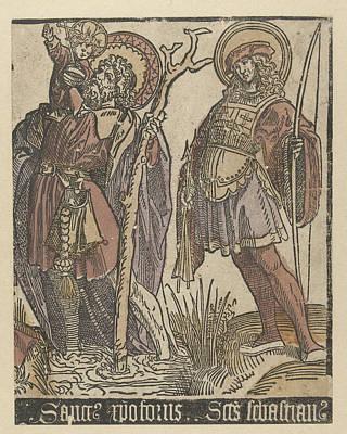 The Saints Christopher And Sebastian Art Print by Jacob Cornelisz Van Oostsanen