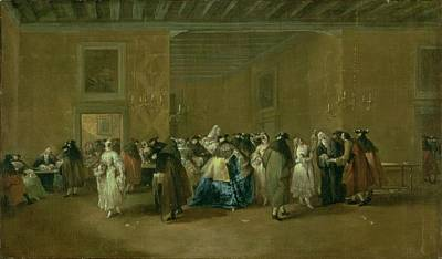 Dance Party Painting - The Sala Grande Of The Ridotto, Palazzo by Giovanni Antonio Guardi