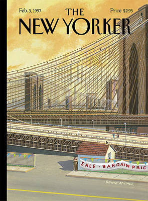 Brooklyn Bridge Painting - The Sale Of The Century by Bruce McCall