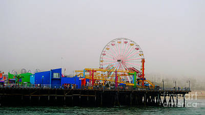 Rollercoaster Photograph - The Santa Monica Pier Looks Bright Even On A Foggy Day by Nina Prommer