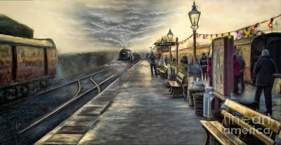 The Santa Train By Lamplight - The Severn Valley Railway Art Print by Linton Hart