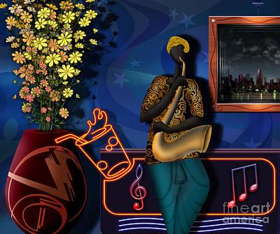 Saxophone Digital Art - The Saxophone Player by Bedros Awak
