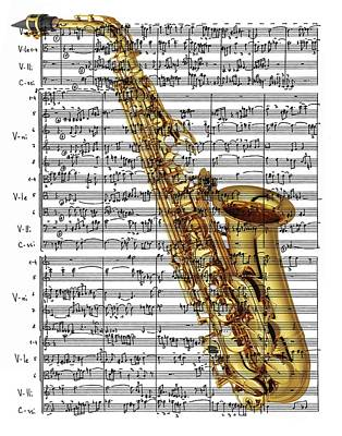 Digital Art - The Saxophone by Ron Davidson