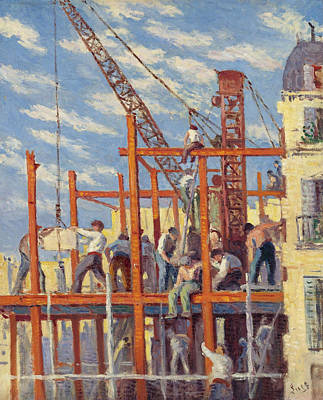 Luce Painting - The Scaffolding by Maximilien Luce