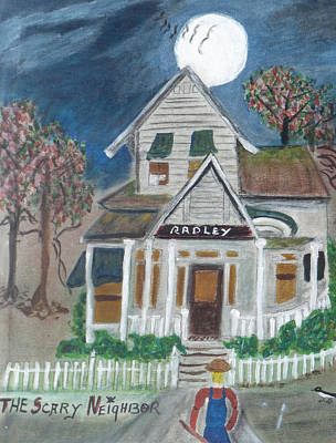 The Haunted House Painting - The Scary Neighbor by Ann Whitfield