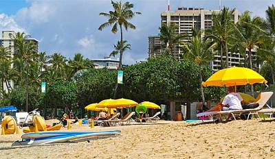 Photograph - The Scene At Waikiki Beach by Michele Myers