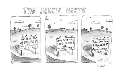The Scenic Route Art Print by Roz Chast