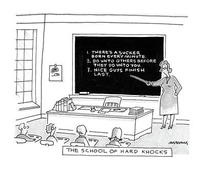 Blackboards Drawing - The School Of Hard Knocks by Mick Stevens
