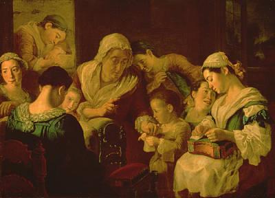 The School Of Needlework, 1751-52 Art Print by Gaspare Traversi