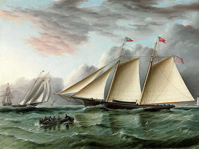 Off The Hook Painting - The Schooner Mohawk Off Sandy Hood Lighthouse by James E Buttersworth