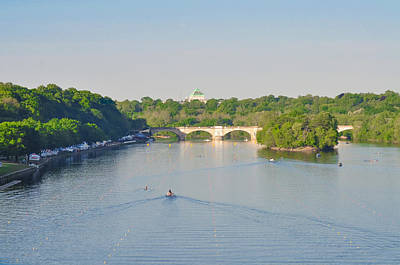 Rowing Crew Digital Art - The Schuylkill River - Dag Vail Regatta by Bill Cannon