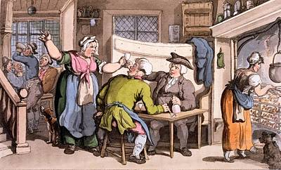 Pub Drawing - The Scold, With News Of Olivia by Thomas Rowlandson