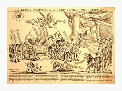 Occupy Drawing - The Scots Triumph, Or A Peep Behind The Curtain by English School