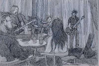 Musicians Drawings - The Screaming Names by Arthur Barnes