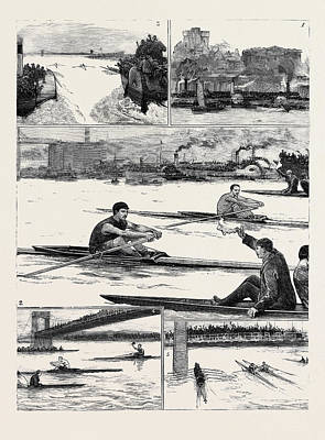 The Sculling Match On The Tyne Between Hanlan And Boyd Art Print