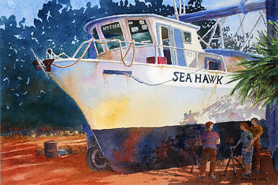 Painting - The Sea Hawk In Drydock by Roger Rockefeller
