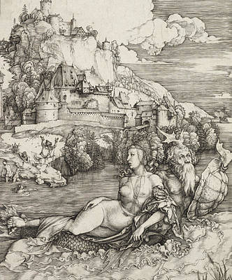 Satyr Drawing - The Sea Monster by Albrecht Durer or Duerer