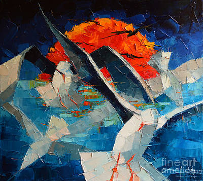 Abstract Reflection Painting - The Seagulls 2 by Mona Edulesco