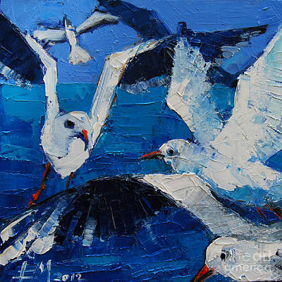 Flying Gull Painting - The Seagulls by Mona Edulesco