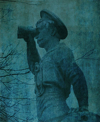 Mixed Media - The Seaman In Teal  by Lesa Fine