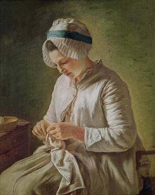 Embroidered Painting - The Seamstress Or Young Woman Working by Francoise Duparc