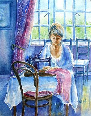 Sewing Room Painting - The Seamstress by Trudi Doyle