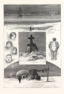 Antique Vessel Drawing - The Search For Sir John Franklin, 1. Nearing Ice-pack. 2 by American School
