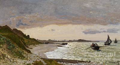 Sailboat Ocean Painting - The Seashore At Sainte Adresse by Claude Monet